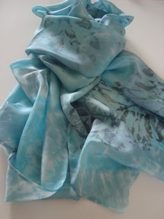 Long Habotai Arashi Shibori Dyed Silk Scarf. by angierichardson on Etsy