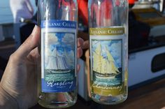 Drinking Leelanau Cellars Select Harvest Riesling and Chardonnay aboard the Tall Ship Manitou.