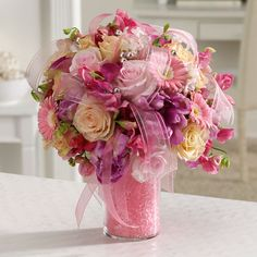 Order Pink & Pearly Pleasures flower arrangement from Nowlin Flower Shop, your local West Palm Beach, FL florist. Send Pink & Pearly Pleasures floral arrangement throughout West Palm Beach, FL and surrounding areas. Floral Wedding, Wedding Flowers, Wedding Bells, Wedding Reception, Summer Wedding Centerpieces, Floral Centerpieces, Wedding Summer, Pink Flower Arrangements, Fragrant Roses