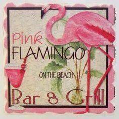 Pink Flamingo Bar & Grill Stone Trivet NEW Tropical Coastal Decor Flamingo Decor, Pink Flamingos, Flamingo Bathroom, Flamingo Garden, Pink Bird, Beach Bars, Everything Pink, Bird Feathers, Spirit Animal