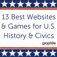 In celebration of President's Day, we want to highlight the best websites and games for U. History and Civics. Sometimes, the history that students learn about in textbooks is boiled down to key events and dates. These great websites and games let them Teaching Us History, Teaching American History, History Education, History Teachers, History Websites, Online Websites, Teaching Kids, Social Studies Classroom, Social Studies Resources