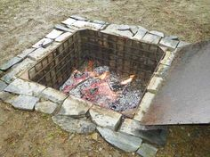 A below-ground fire pit is ideal for slow cooking in cast-iron Dutch ovens.