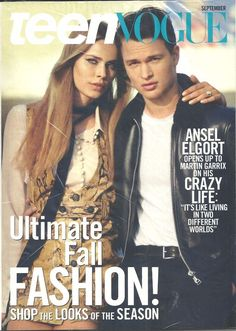 TEEN VOGUE September 2015 Ansel Elgort English Fashion Monthly