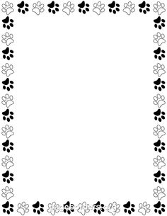 Printable Black And White Paw Print Border. Use The Border In Microsoft Word  Or Other  Page Borders Templates For Microsoft Word