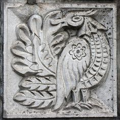 Bas-relief of fairytale bird - Stock Image: 5763590