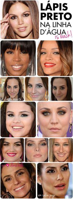 tendencia, maquiagem, lapis preto, linha d'água, dentro do olho, make, anos 90, 90's, adoescencia, retrô, trend, fotos