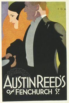 Art Deco ad for Austin Reed Art Deco Illustration, Graphic Illustration, Poster Ads, Advertising Poster, Poster Prints, Vintage Advertisements, Vintage Ads, Vintage Posters, Vintage Travel