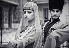 Caucasus people traditional costumes of Georgia man woman