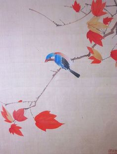 Chinese Blue Flycatcher Autumn Painting on Silk