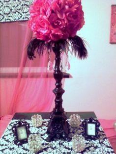 DIY Centerpiece, Parasols & Cardbox :  wedding black diy pink white Centerpiece
