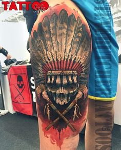 80 Indian Skull Tattoo Designs For Men – Cool Ink Ideas Awesome Indian Skull Mens Half Sleeve Tattoo Ideas With Native American Design Tattoo Life, Form Tattoo, Ink Tattoo, Tattoo Henna, Shape Tattoo, Body Art Tattoos, Sleeve Tattoos, Tattoo Thigh, Indian Chief Tattoo