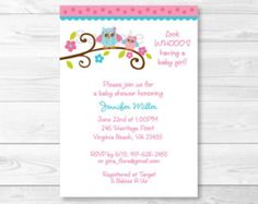 Pink Owl Baby Shower Invitation / Owl Baby Shower Invite / Owl Baby Shower / Pink Owl / Girl Owl / Baby Girl Shower / PRINTABLE
