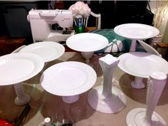 DIY cake stands - Great idea if you're doing multiple cakes/treats for and event and want a decorative display