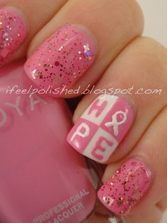 T Cancer Awareness Nail Design Hope Glittery Pink Nails