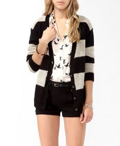 Striped Wool-Blend Cardigan | FOREVER21 - 2025100677 $24.80