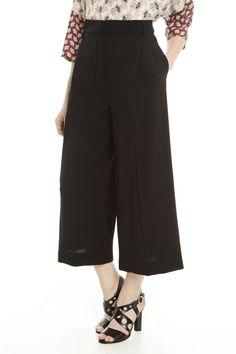 Pantaloni palazzo corti, nero - Diffusione Tessile