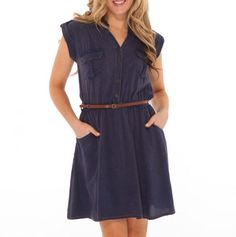 Belted Shirt Dress with Pockets - Style Ready Apparel - Events