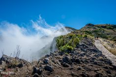 A couple return from #Madeira islands highest peak 'Pico Ruivo' on the path down to Pico das Pedras.