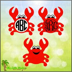 Monogram Crab Crabby Monogram Designs Digital Clipart Instant Download Full Color Jpeg, Png, SVG, DXF EPS Files - pinned by pin4etsy.com