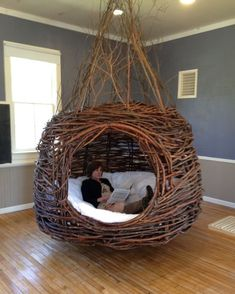 diy home decor - Home Interior Design — Dreamweaver Nests Willowbee Willow Weaving, Basket Weaving, Funky Furniture, Furniture Design, Rustic Log Furniture, Dream Rooms, Inspired Homes, Home Interior Design, Diy Interior