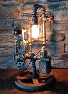 Industrial table lamp automotive man cave by IndustrialReworks