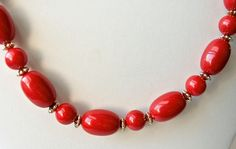 Vintage Red  Beaded Necklace   Silver Accents   by GemstoneCowboy