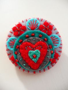 ES643/070 -  Heart to Heart -  Handmade Mini Felt Brooch - Grey - Made to order - US about $19.94 - via Etsy.