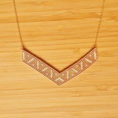 Collier Incas Moka Plaqué or 14 carats perles de verre Miyuki