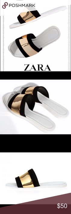 Zara Black/Gold Slides 38 Chloe inspired flat slides by Zara. 38/7.5. Never worn! Zara Shoes Sandals
