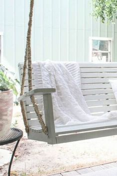 Don't be quick to discard an old porch bench. Instead learn how to paint and redo an broken porch swing with this DIY idea. Don't be quick to discard an old porch bench. Instead learn how to paint and redo an broken porch swing with this DIY idea. Porch Bench, Porch Swing, Pallet Patio Furniture, Upcycled Furniture, Industrial Furniture, Vintage Industrial, Furniture Ideas, Wood Valances For Windows, Rustic Outdoor Decor
