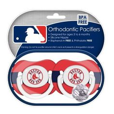 """MLB Boston Red Sox Pacifiers 2 Pack by Baby Fanatic. $7.20. Quality and safety tested to be 100% BPA and Phthalate free. Includes 2-pacifiers. Officially licensed by MLB. BRS112 Team: Boston Red Sox Soothe your little fan with officially licensed 2-pack pacifiers.The team logo is adorned on the """"button"""" with team colors decorating the shield. Features: -Pacifiers. -Material: 100% BPA and Phthalate free. -Tested for quality and safety. -Silicone nipple with a plastic shield and..."""
