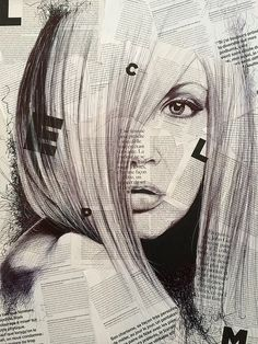ball pen portrait on news paper | Sam Guillemot.