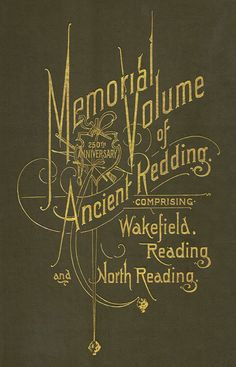 """Memorial Volume of Ancient Redding,"" Elaborate cover stamping on a book published in 1896 by Loring & Twombly of Reading, Massachusetts. Printed by The Barta Press, Boston."