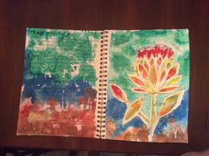 """I am grateful""water color using Miskit, salt.  8/4/14"