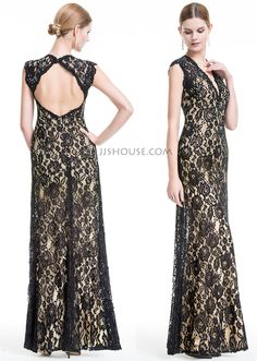 This floor-length dress makes a striking impression with its allover lace. #JJsHouse #Eveningdresses