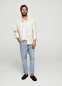 Denim collection Straight-fit Cotton fabric Loops Five pockets Decorative rips Zip and one button fastening Clothing Store Displays, Loose Jeans, Lacoste Men, Man United, White Outfits, Menswear, Normcore, Skinny Jeans, Mens Fashion