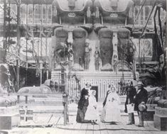 Group of visitors at the Egyptian Court inside the Crystal Palace, London. Early 1900's