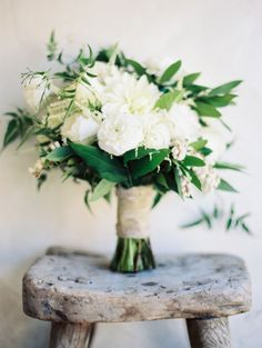 Lush ivory bouquet: http://www.stylemepretty.com/2015/02/16/elegant-fall-san-ysidro-wedding/ | Photography: Ashley Kelemen - http://ashleykelemen.com/