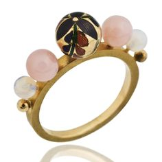 Meenakari bead surrounded by white & pink opal, on an 18ct gold band set with pink & champagne diamonds