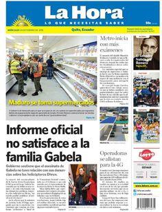 Los temas destacados son: Maduro se toma supermercados, Metro inicia con más exámenes, El Salvador festeja por Romero, OSNE con sonido de tango, Carnaval en Carchi, Informe oficial no satisface a la familia de Gabela y Operadoras se alistan para la 4G.