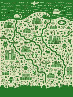 Collection of map illustrations by Jan Feliks Kallwejt, via Behance
