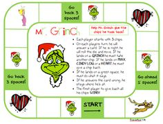 Free gameboard! Goes great with comprehension cards: http://www.teacherspayteachers.com/Product/How-the-Grinch-Stole-Christmas-Question-Cards-for-Gameboard-1023375