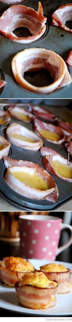 Brunch or Breakfast: Mini Bacon Egg Cups -Yep, bite sized bacon and egg awesomeness. Simply wrap your muffin tins with bacon, fill with seasoned whipped eggs (and maybe some cheese?), and bake at for minutes Breakfast Desayunos, Breakfast Dishes, Breakfast Recipes, Perfect Breakfast, Breakfast Ideas, Breakfast Casserole, Dessert Recipes, Brunch Recipes, Snacks Recipes