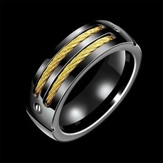 Black Stainless Steel With Gold Cable Chain Ring Unisex Various Sizes N TO U | eBay