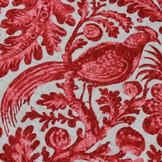 Red Pheasant Toile - Mosaic, Inc. : Red is SO in! We love this beautiful linen and can see it being used in many shabby chic designs.