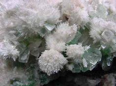 bijoux-et-mineraux:   Mordenite on Green Apophyllite and Stilbite