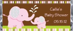 Elephant Girl Baby Shower Candy Bar Wrappers