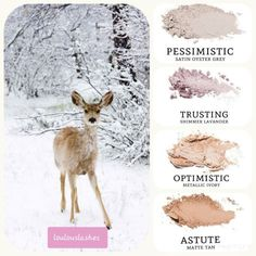 Nature inspired oyster grey (pessimistic), paired with lavander (trusting), ivory (optimistic) and tan (astute). Younique Eyeshadow, Eyeshadow Palette, Mask Makeup, Eye Makeup, 3d Mascara, Younique Presenter, Beauty Make Up, Beauty Stuff, Makeup Tips