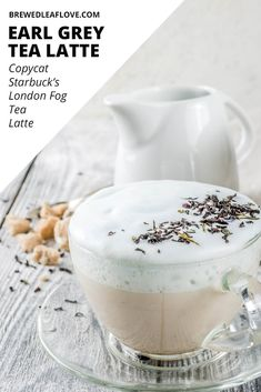 Easy recipe for a DIY homemade london fog tea latte drink you can make at home with just a hint of lavender. How to make a healthy version with almond milk and with honey. Great hot and iced this recipe is even better than Starbucks. Milk Tea Recipes, Coffee Recipes, Drink Recipes, Smoothie Recipes, Yummy Drinks, Healthy Drinks, Yummy Food, Healthy Food, Nutrition Drinks