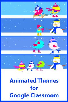 An animated theme (4 gif files included) to add some fun to your Google Classroom. Online Classroom, Classroom Decor, Google Classroom, Winter Theme, Educational Technology, Some Fun, Gif Files, Animation, Learning